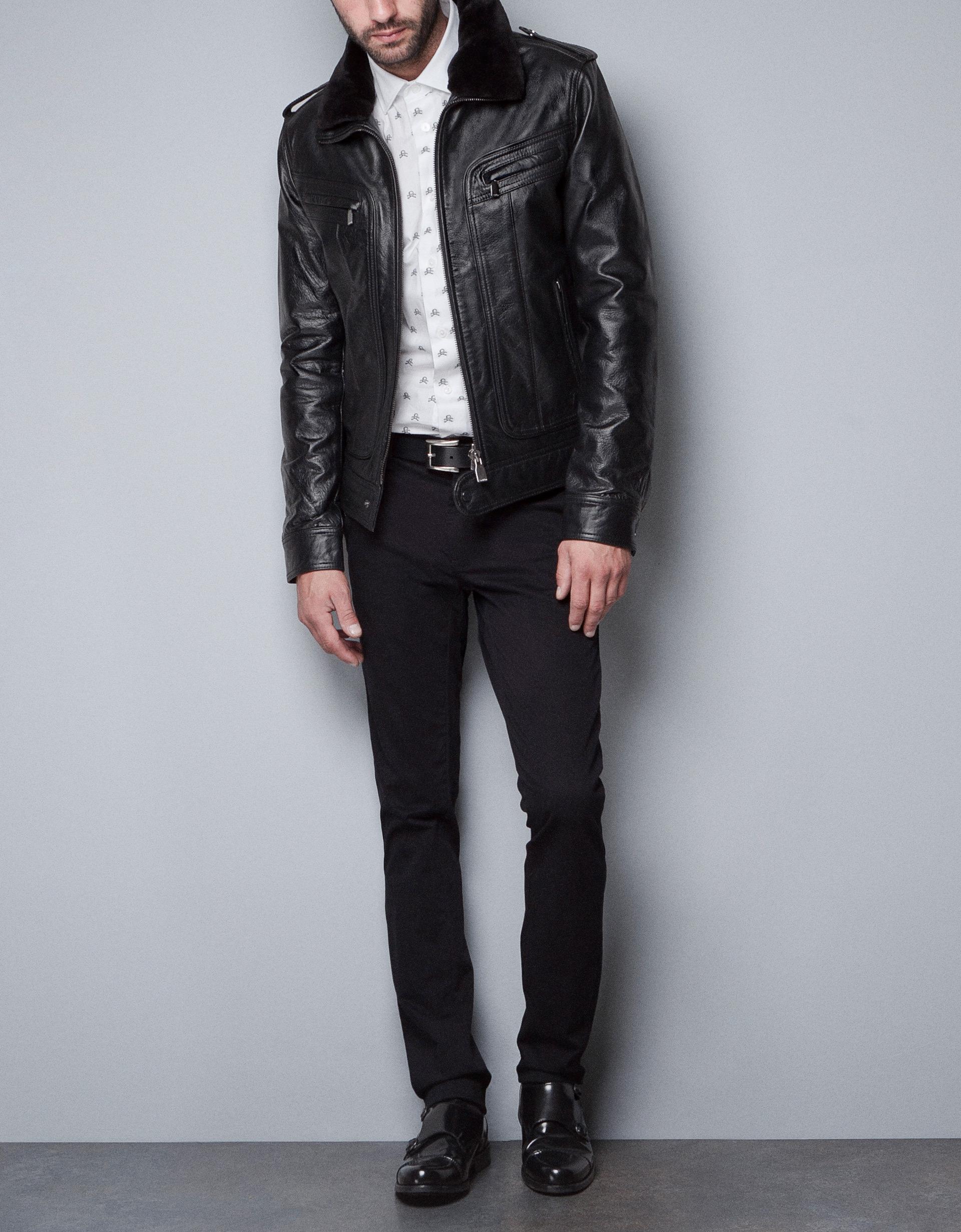 Men's jacket collar - Mens Leather Jacket Fur Collar
