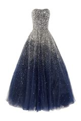 Marchesa Sequined Strapless Silk Tulle Gown