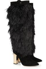 Nicholas Kirkwood Rabbit Lined Feather and Suede Boots