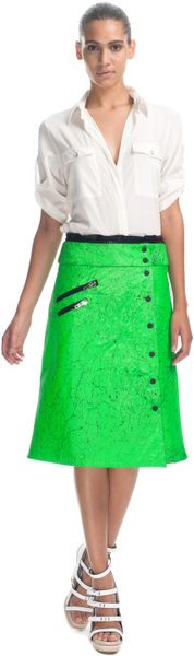 Rag & Bone Dakar Skirt in Cracked Leather in Green - Lyst