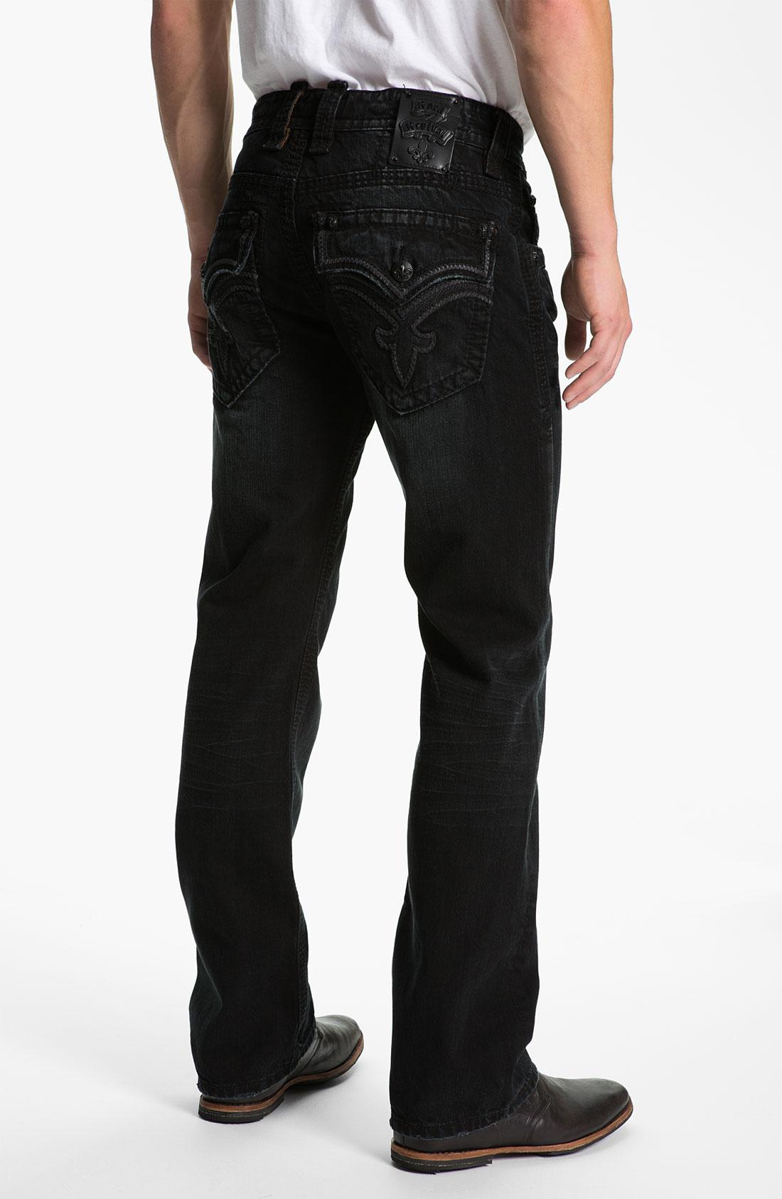 Rock Revival Bob Straight Leg Jeans in Black for Men | Lyst