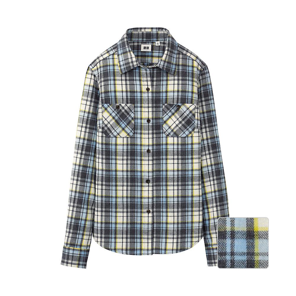 Uniqlo Women Flannel Check Double Pocket Long Sleeve Shirt