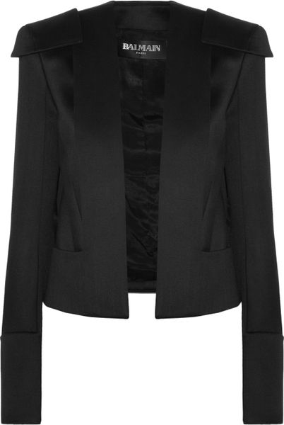 Balmain Structured Wool Jacket in White (black)