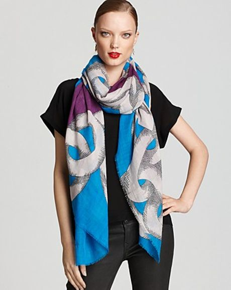 Diane Von Furstenberg Hanovar Scarf in Blue (shaded chain blue) - Lyst