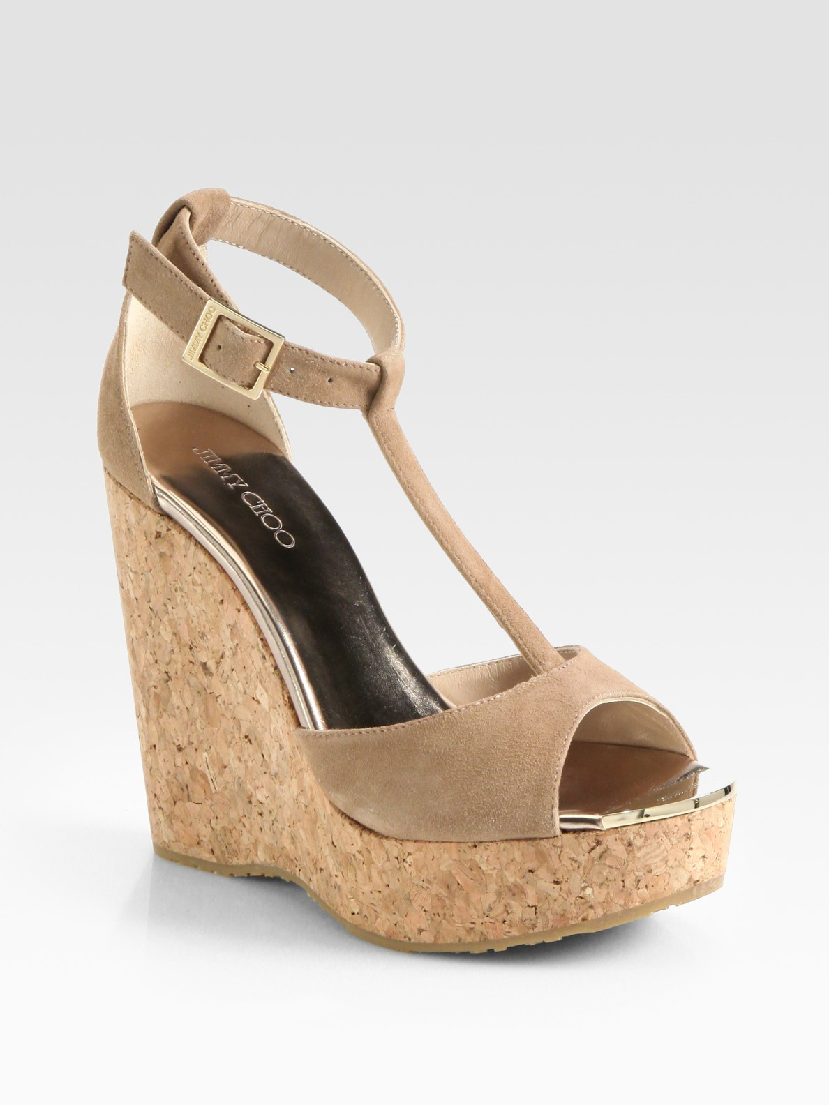 57fbded3a0d442 Lyst - Jimmy Choo Pela Suede Tstrap Cork Wedge Sandals in Natural