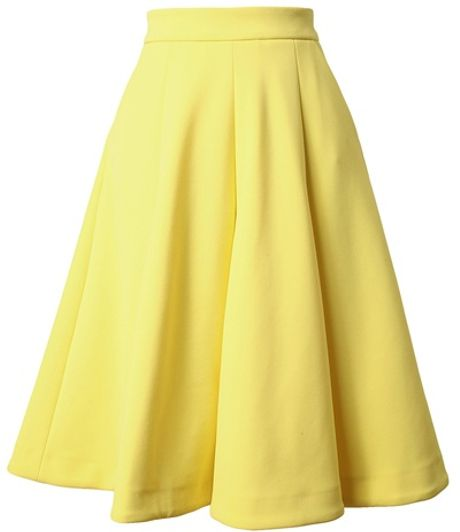 j w box pleated neoprene skirt in yellow lyst