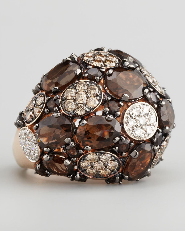 Smoky Quartz Black Diamond Ring