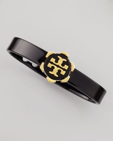 Tory Burch Walter Resin Bracelet Black in Black