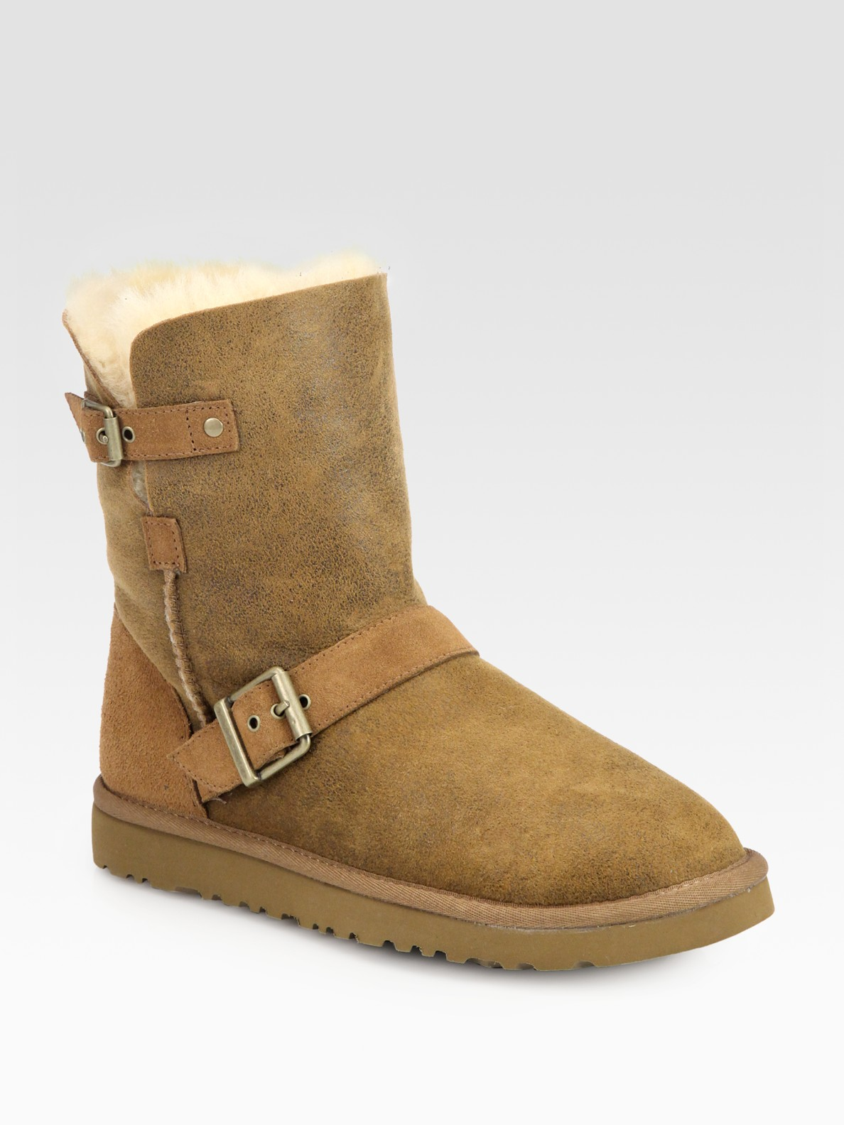 ugg classic short dylyn suede boots in brown chestnut lyst. Black Bedroom Furniture Sets. Home Design Ideas