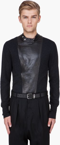 Saint Laurent Black Leather Trim Cashmere Sweater in Black for Men