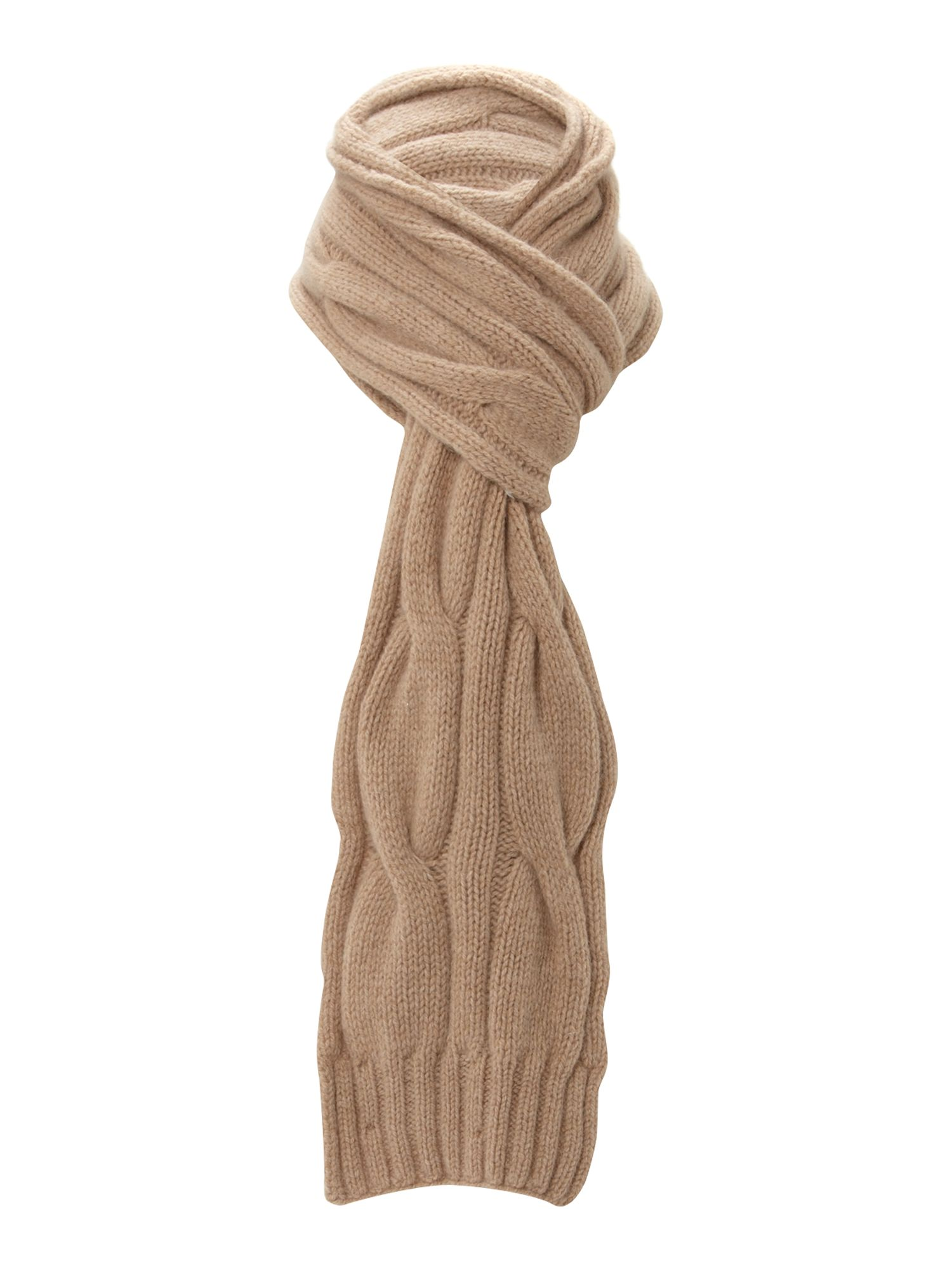 Barbour Wool Angora Cable Knit Scarf in Natural Lyst