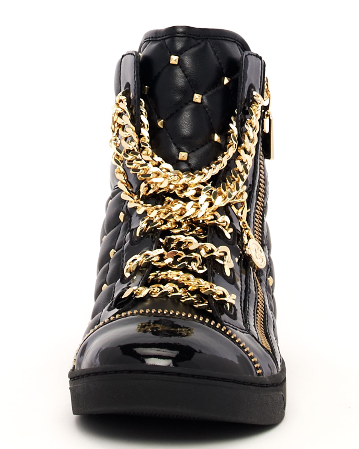 4f501ee4b7249 Lyst - Michael Kors Chainlace Quilted Hightop in Metallic