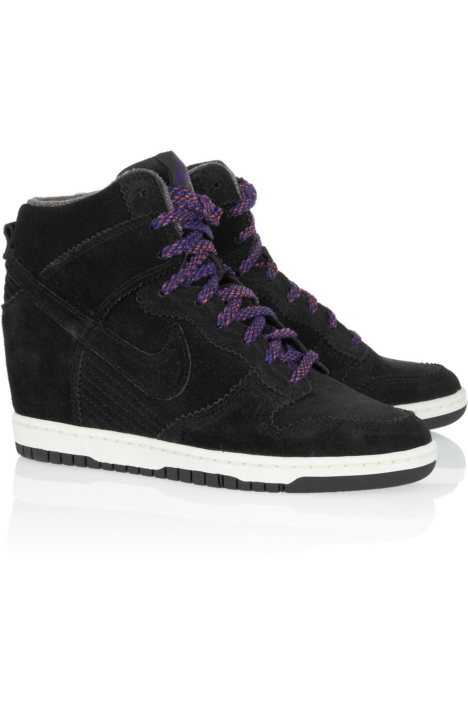 nike dunk sky hi suede wedge sneakers in black sky lyst. Black Bedroom Furniture Sets. Home Design Ideas