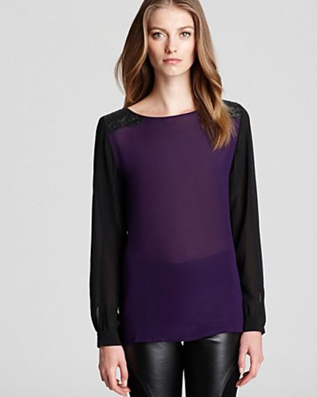 Sachin & Babi Blouse Derby with Croc Detail At Shoulder in Purple (amethyst)