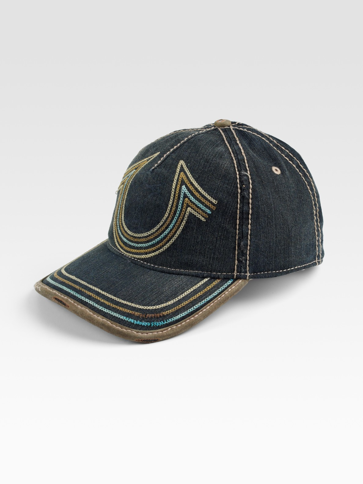 true religion horseshoe stitch baseball cap in gray for men black lyst. Black Bedroom Furniture Sets. Home Design Ideas
