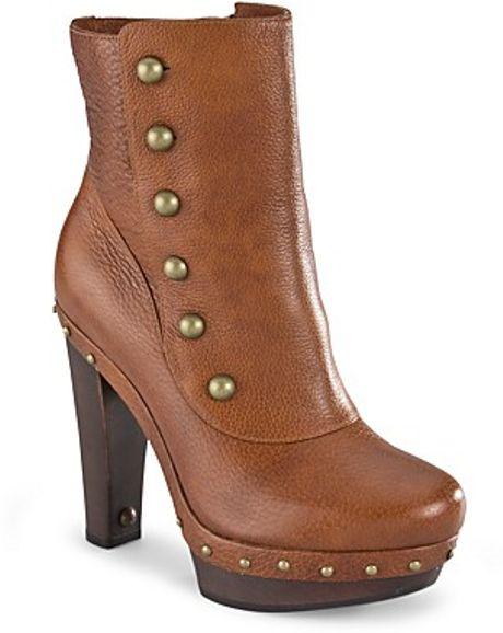 ugg button booties cosmina high heel in brown chestnut