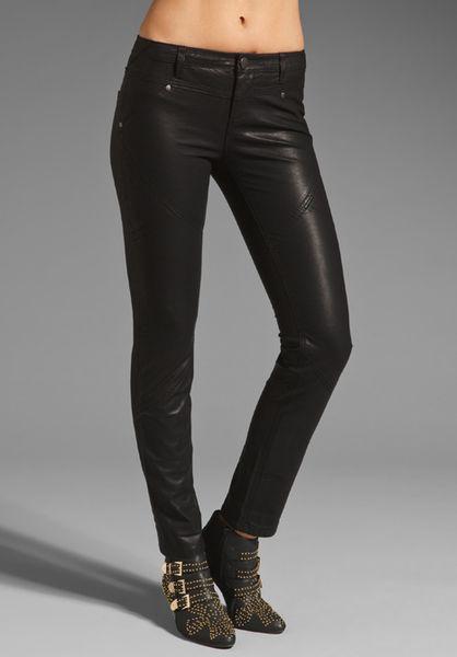 Free People Vegan Leather Seamed Skinny Pant in Black