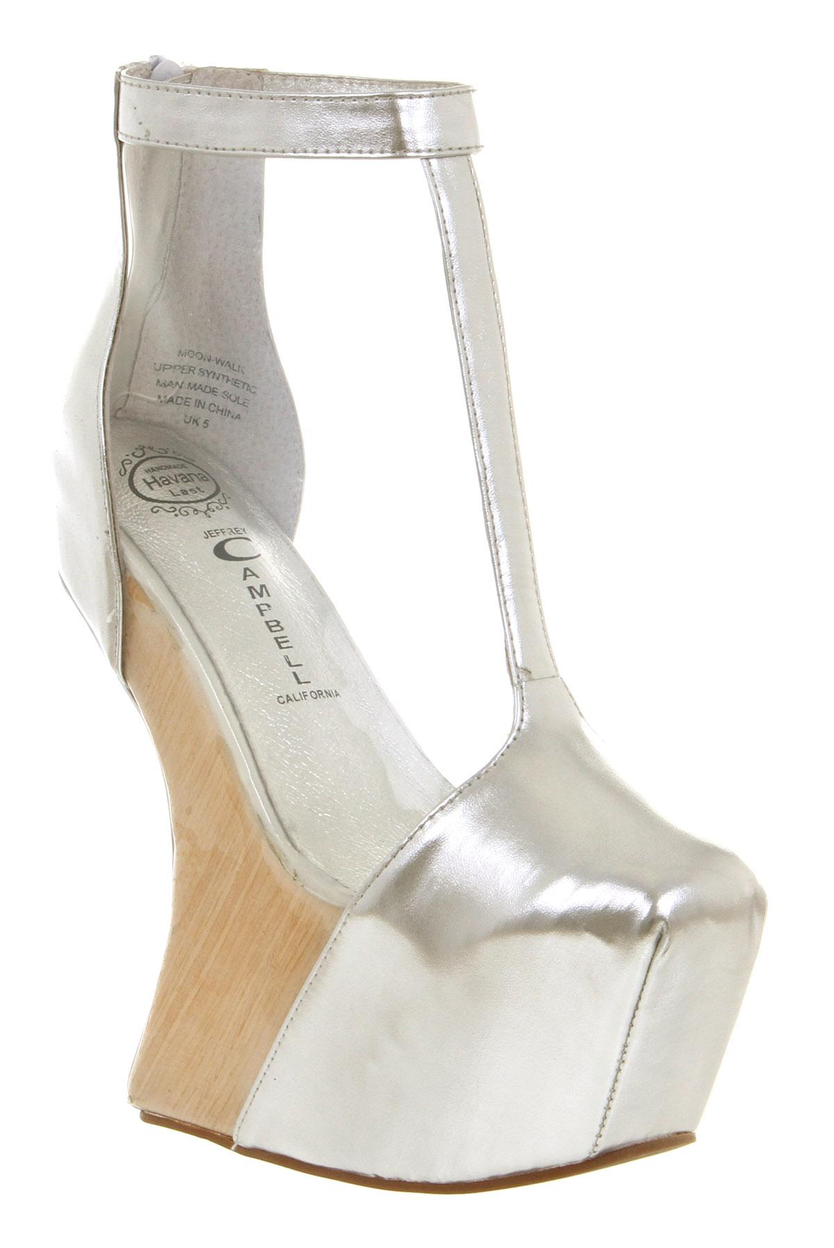 2838b7eefe8 Lyst - Jeffrey Campbell Moon Walk Wedge Sandal Clear Silver in Metallic