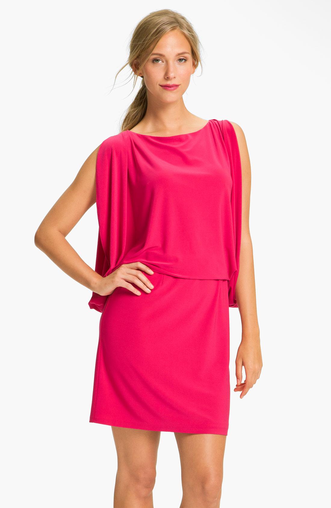 Jessica Simpson Draped Sleeve Jersey Blouson Dress In Pink