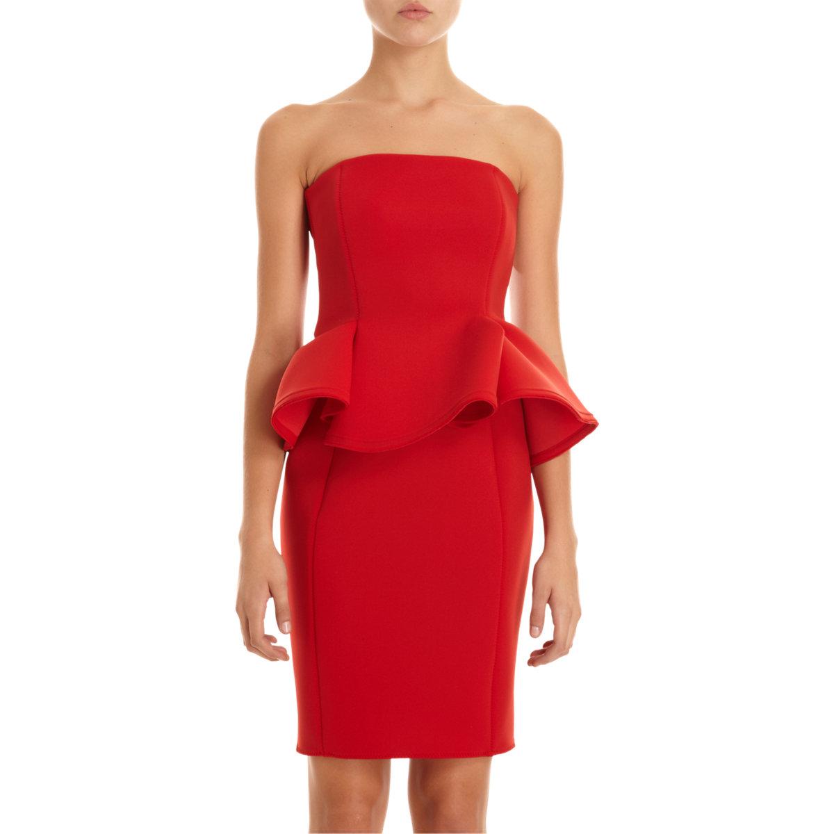 lanvin strapless peplum dress in red lyst