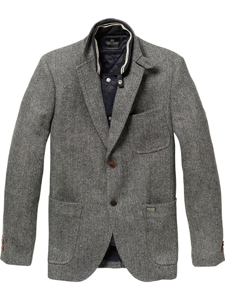scotch soda blazer with inner jacket in gray for men lyst. Black Bedroom Furniture Sets. Home Design Ideas