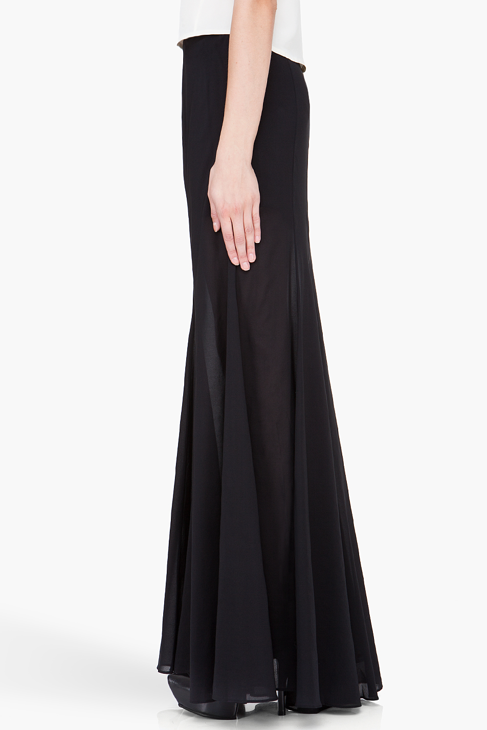 Theyskens' theory Long Black Silk Skirt in Black | Lyst