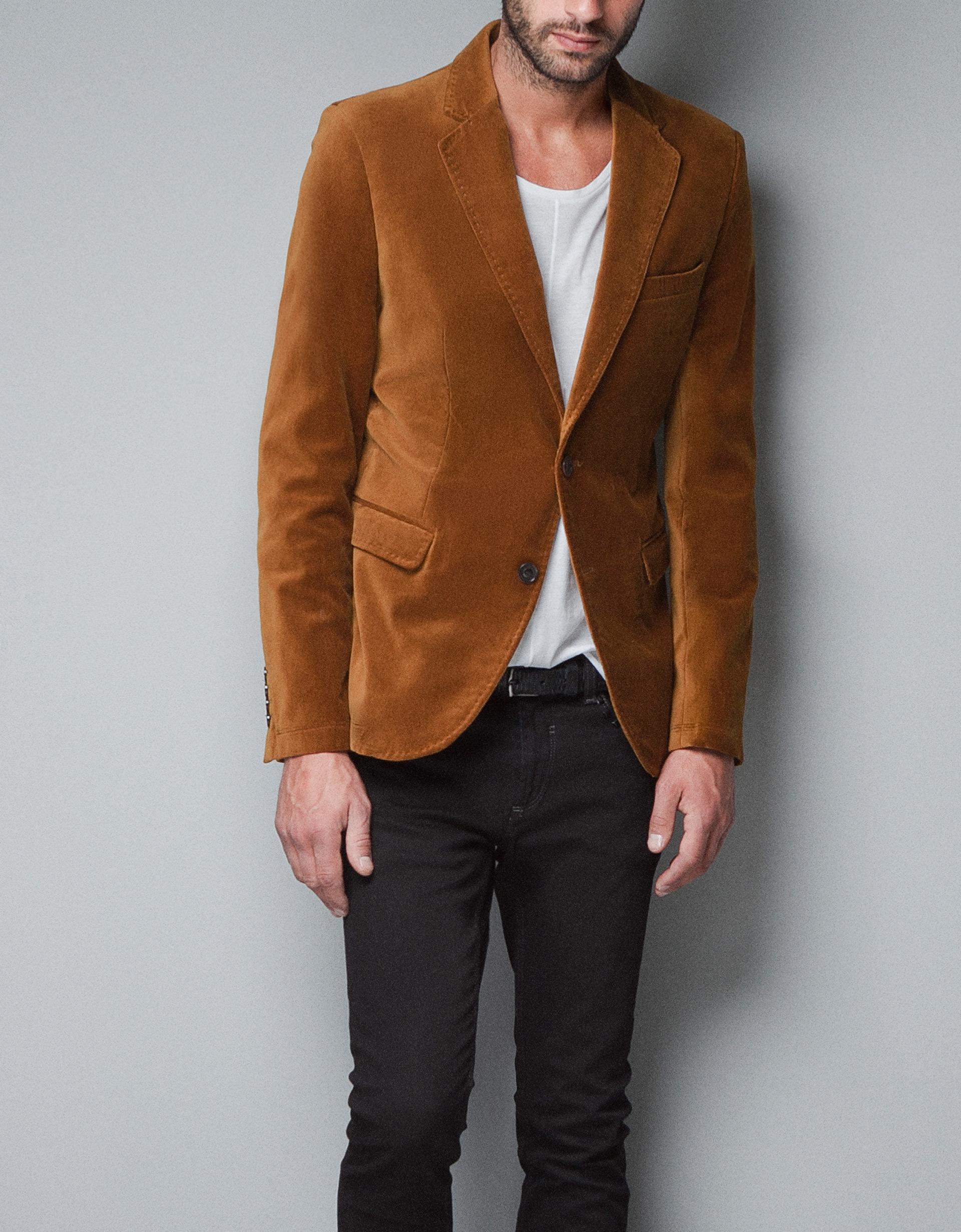 Zara Velvet Blazer in Yellow for Men | Lyst