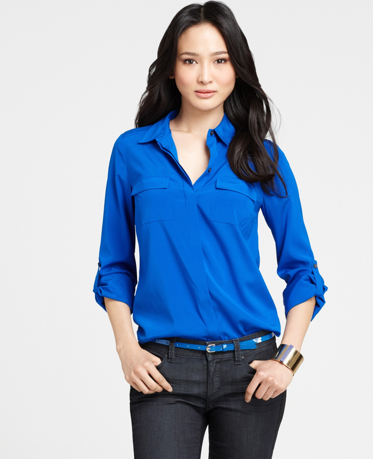Bright blue silk blouse lace henley blouse for Royals button up shirt