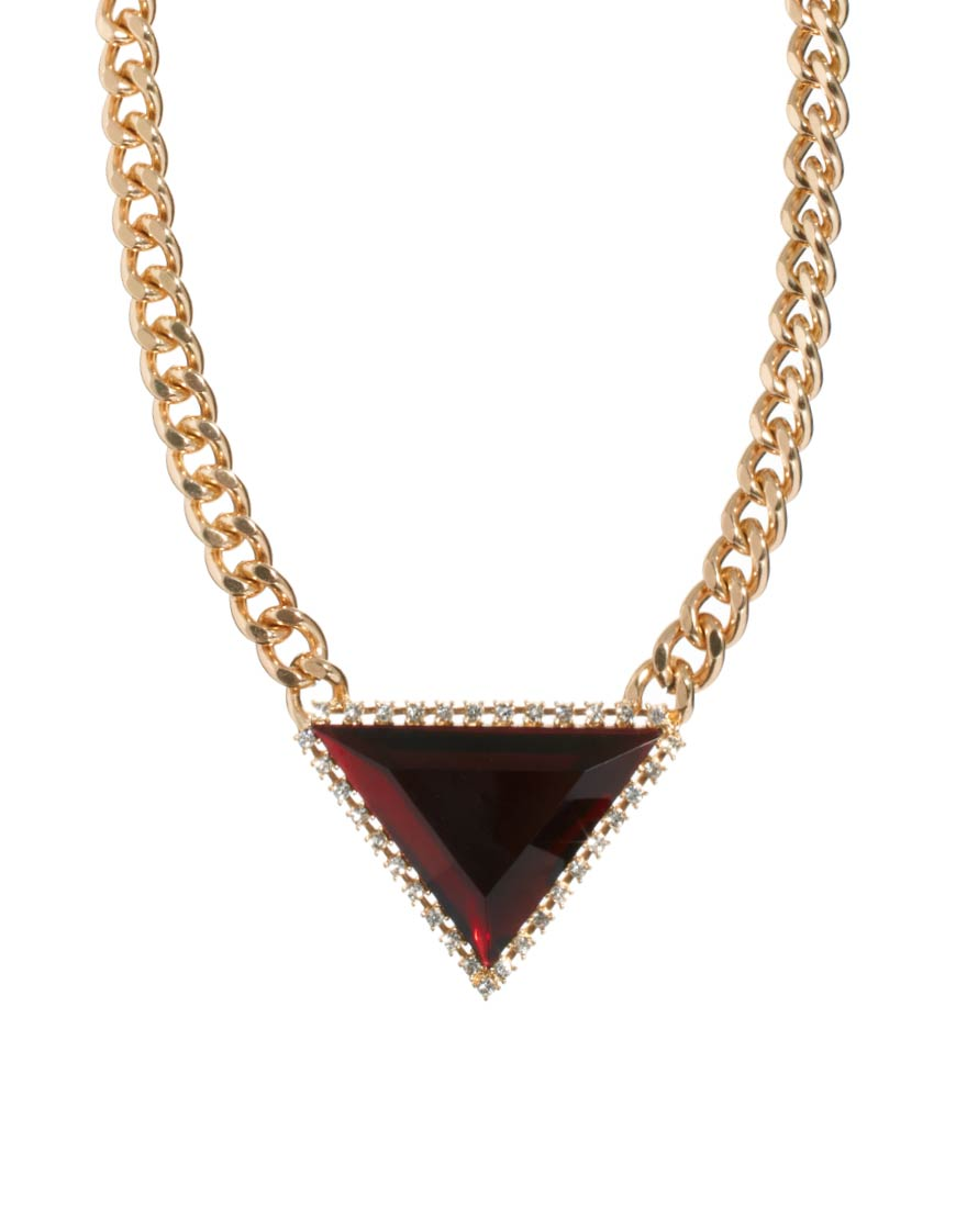 asos curb chain triangle necklace in red lyst. Black Bedroom Furniture Sets. Home Design Ideas
