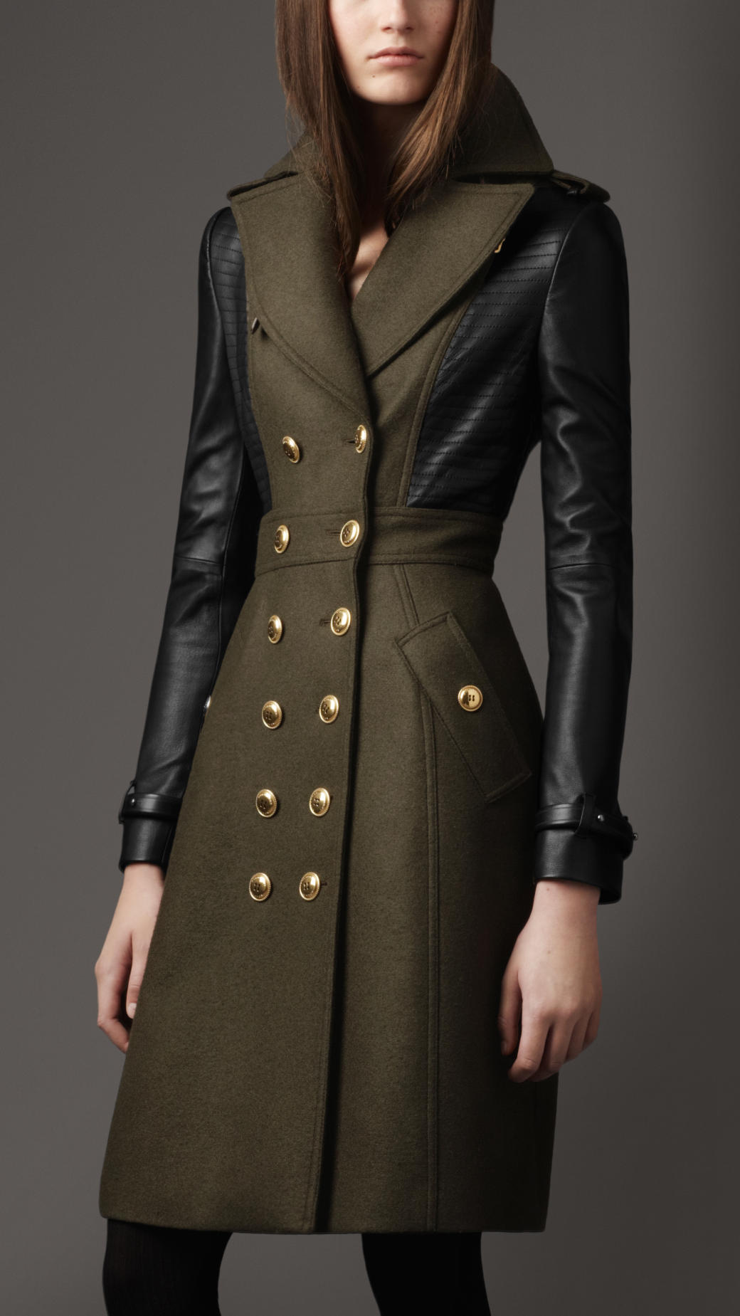 Burberry Leather Sleeve Coat in Green | Lyst