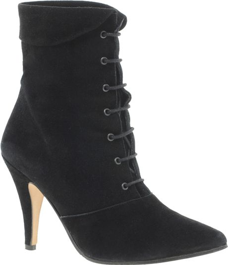 ganni nancy black lace up heeled ankle boots in black lyst