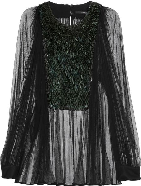 Gucci Pailletteembellished Tulle Blouse in Black