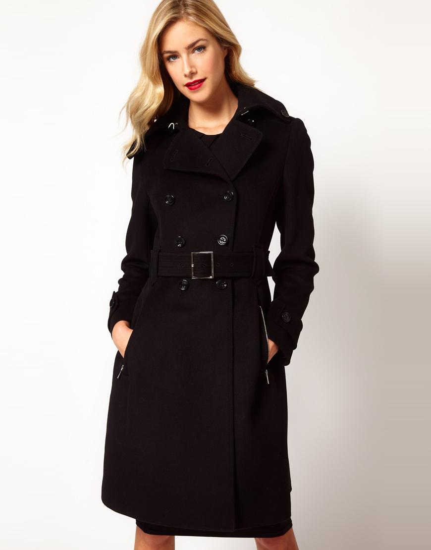 Karen millen Classic Investment Coat with Belt in Black   Lyst