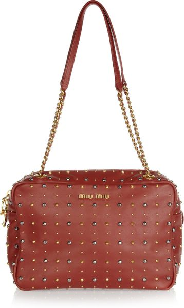 Miu Miu Studded Leather Shoulder Bag in Brown (red)