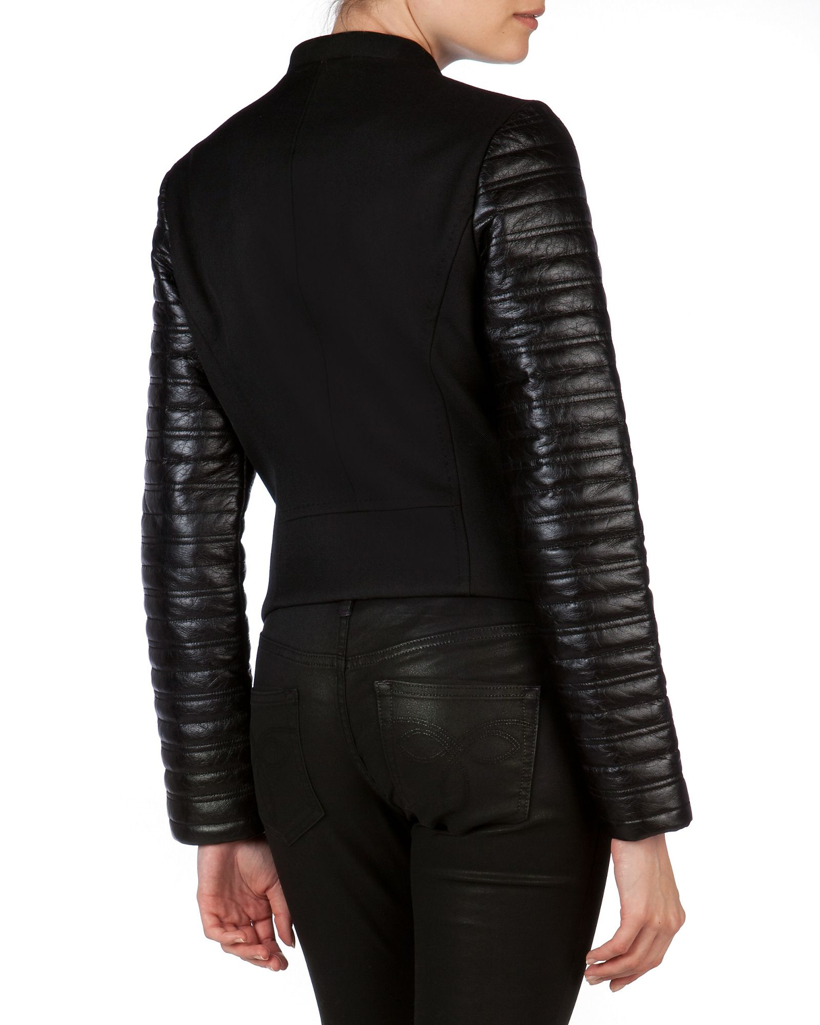 Ted baker coat with leather sleeves