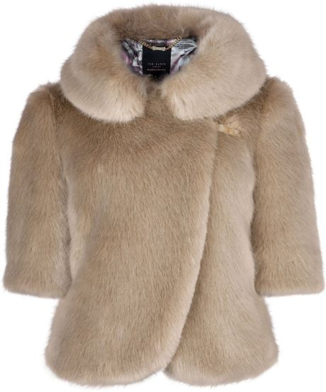 Ted Baker Oscai Faux Fur Jacket in Beige (cream)