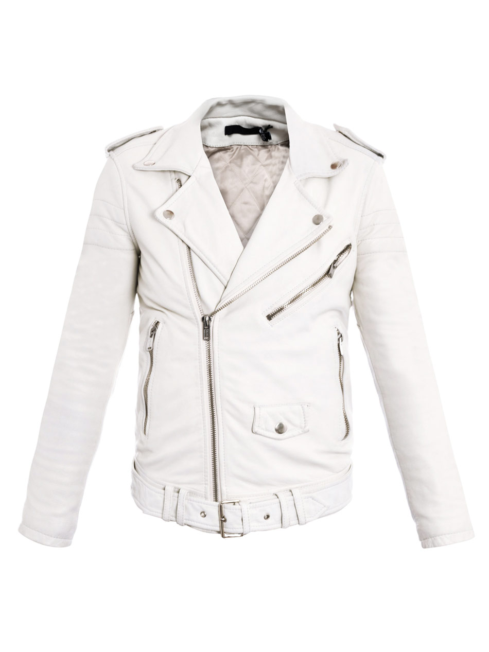 Blk Dnm Leather Biker Jacket in White