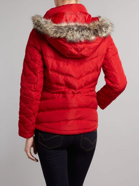 Kenneth Cole Short Padded Jacket With Faux Fur Hood In Red