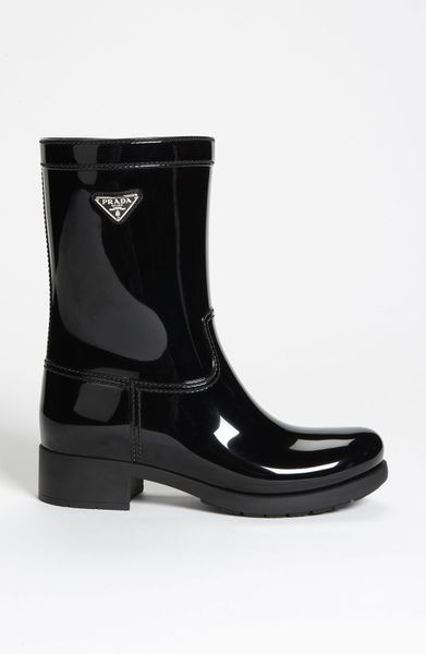 Prada Rubber Rain Boot In Black Lyst