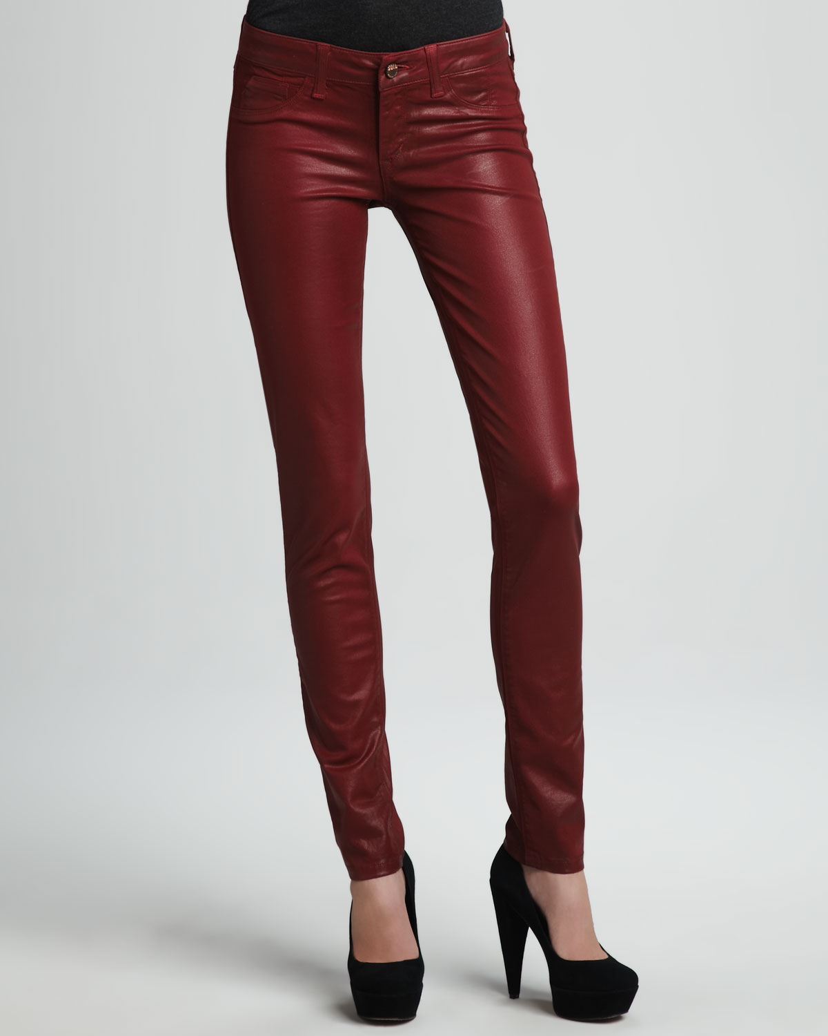 Sold denim Coated Skinny Jeans in Red | Lyst