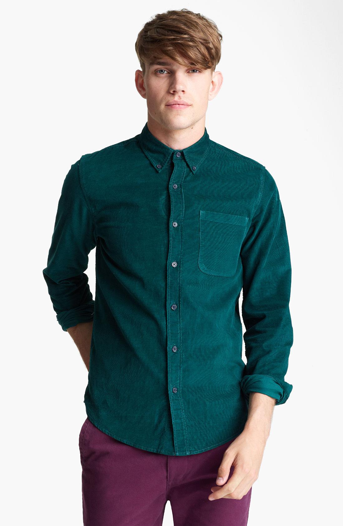 topman button down corduroy shirt in green for men lyst