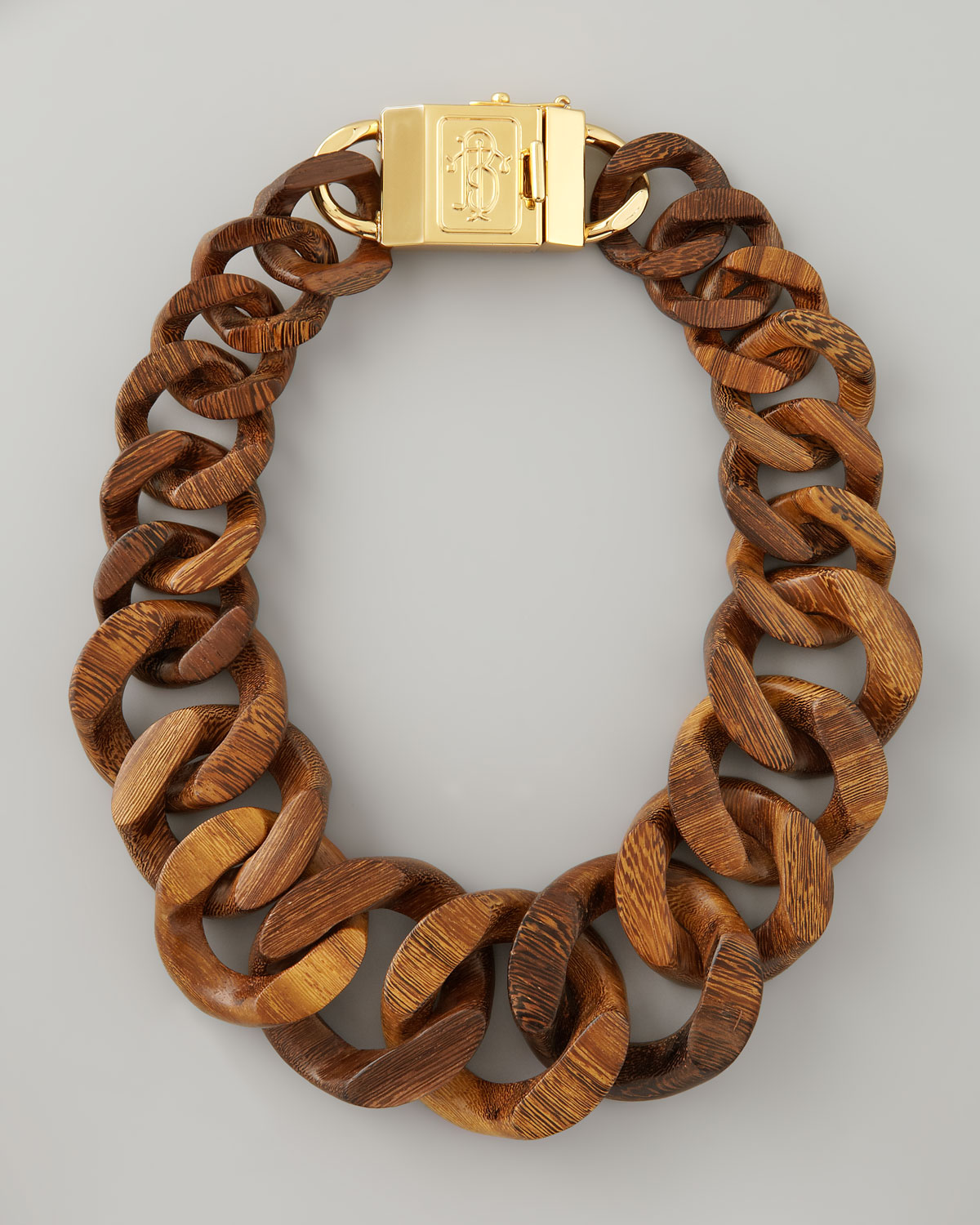 Lyst tory burch graduated wooden chain necklace in brown gallery mozeypictures Choice Image