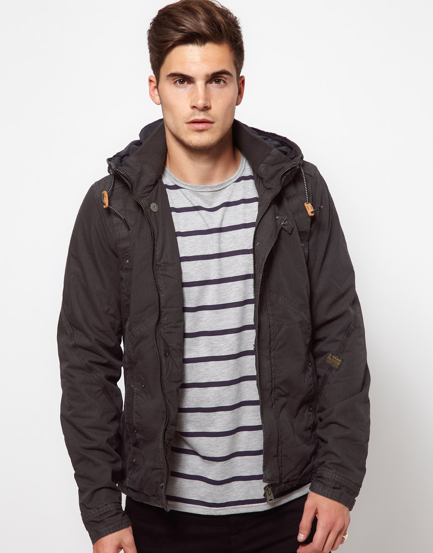 G-star Raw Overshirt Jacket with Hood in Black for Men | Lyst