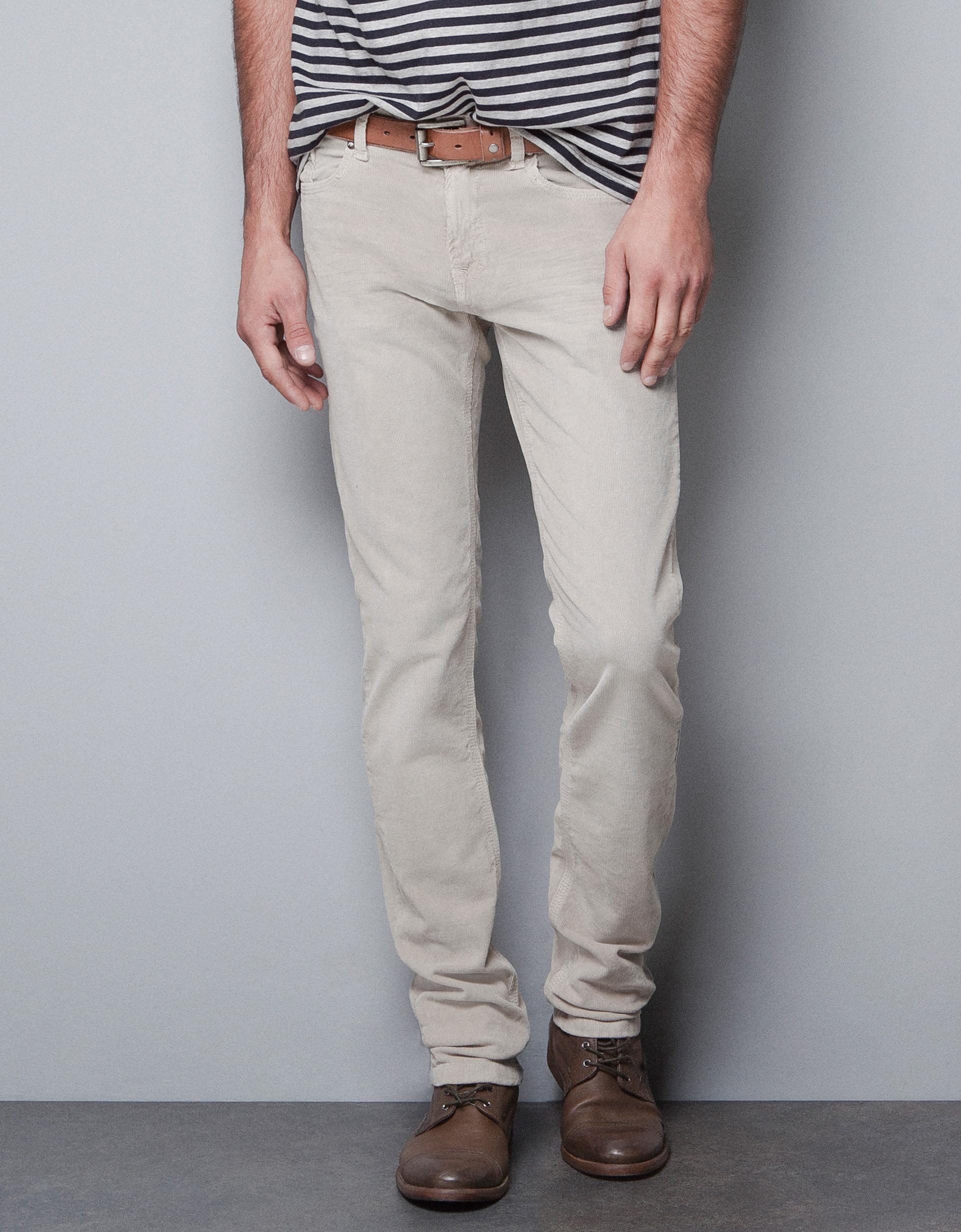 Zara Slim Fit Corduroy Trousers in Natural for Men | Lyst