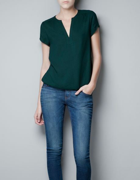Zara Forest Green Blouse 3