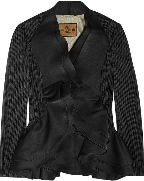 Etro Ruffle Paneled Textured Brocade Jacket in Black