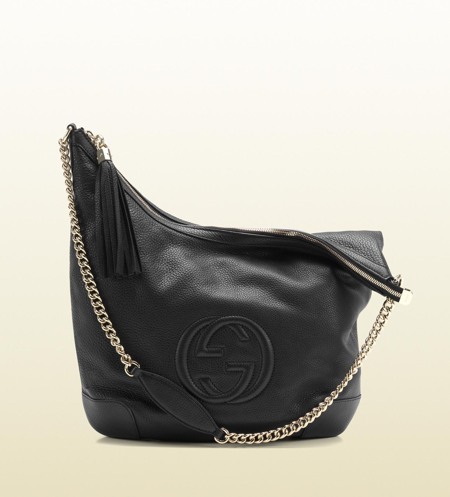Gucci Soho Black Leather Shoulder Bag with Chain Strap in Black | Lyst