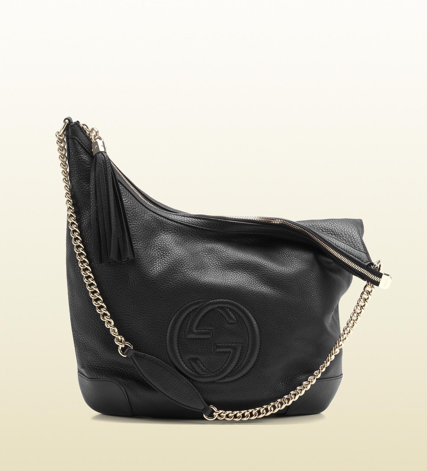 Gucci soho black leather shoulder bag with chain strap in black lyst for Black leather strap