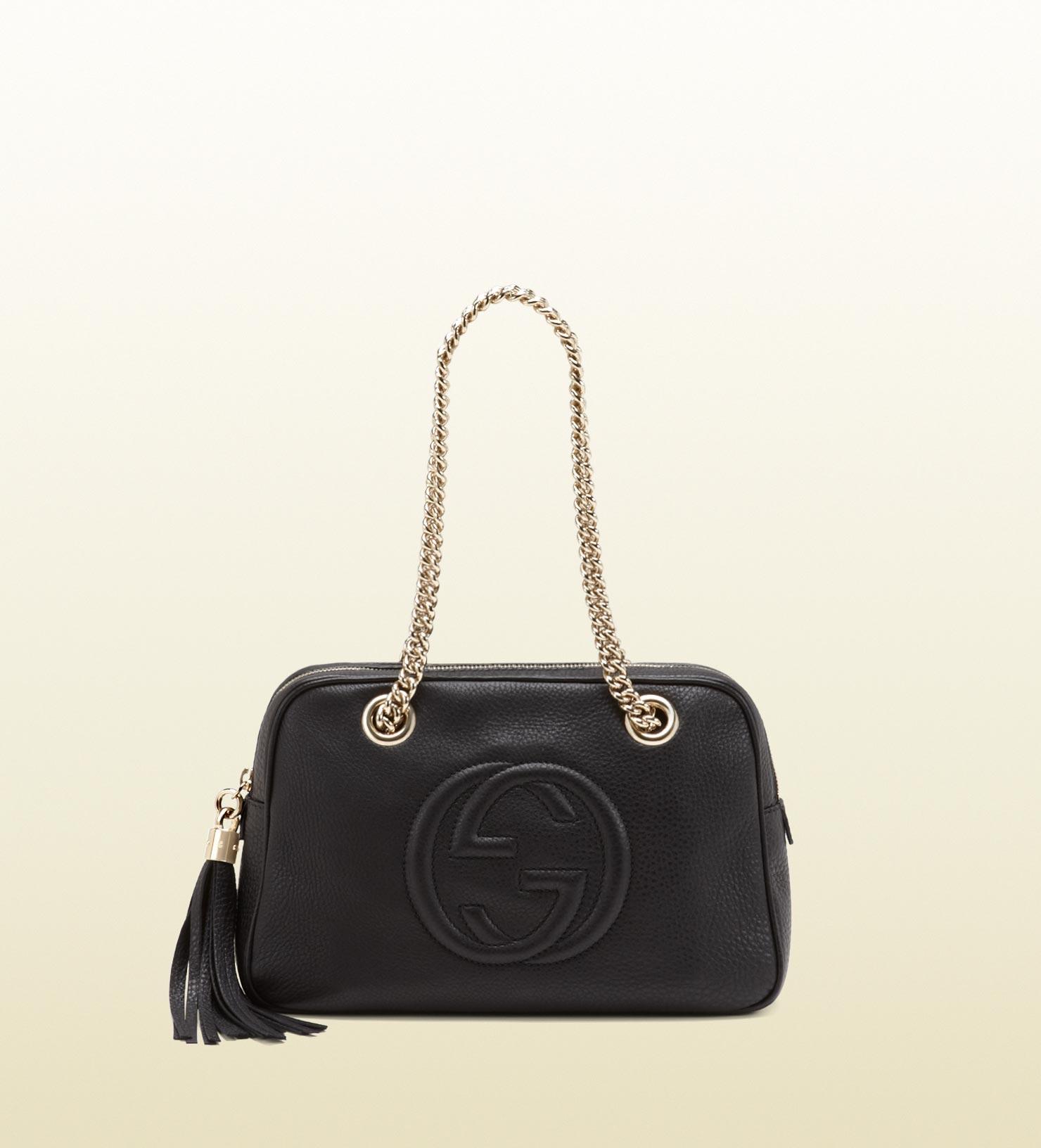 400308fa3 Gucci Soho Leather Shoulder Bag in Black - Lyst