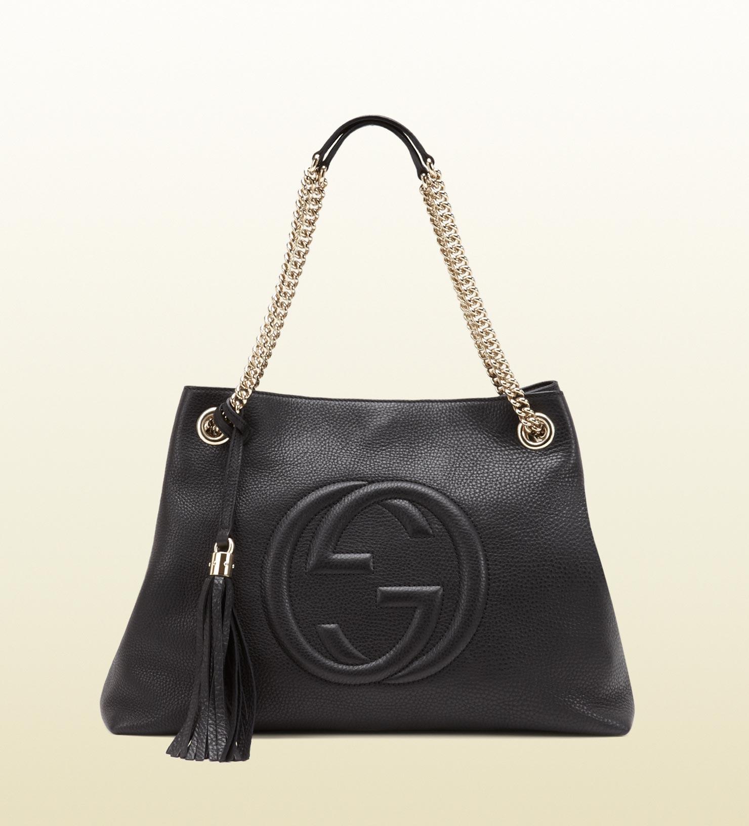 Soho Medium Leather Shoulder Bag Black 29